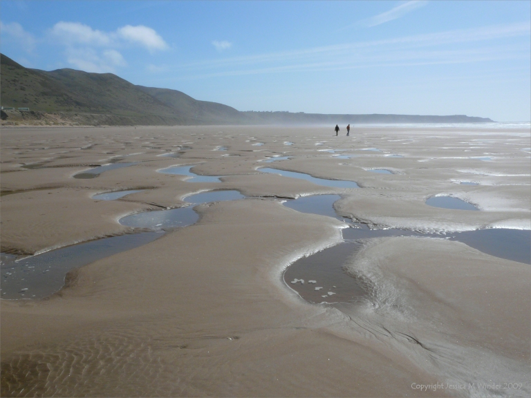 The appearance of the surface of the sandy beach at Rhossili after a storm 8th April 2009