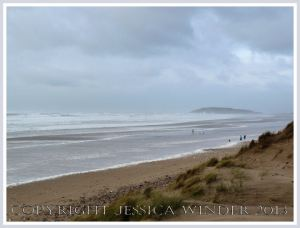 Wet, wild & windy at Rhossili (7) - The stormy sea, surf, and seafoam at Rhossili, Gower, south wales, 14th November 2009, looking towards Burry Holms from the relative shelter of the sand dunes.