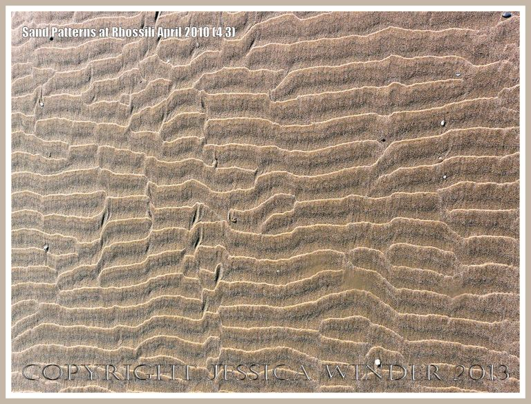 Sand ripple patterns on Rhossili beach, Gower, South Wales.