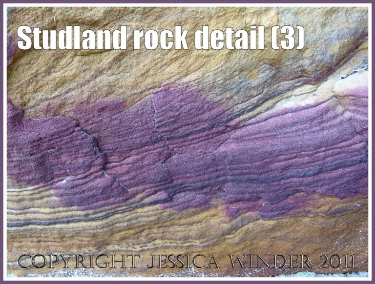Studland rocks: Purple rock strata in sandstone on the National Trust owned beach at Studland Bay, Dorset, UK, on the Jurassic Coast World Heritage Site (3)