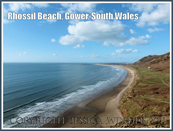 Rhossili Bay, view looking north from the cliff-top, Gower Peninsula, South Wales, UK, 18 March 2011 (1)
