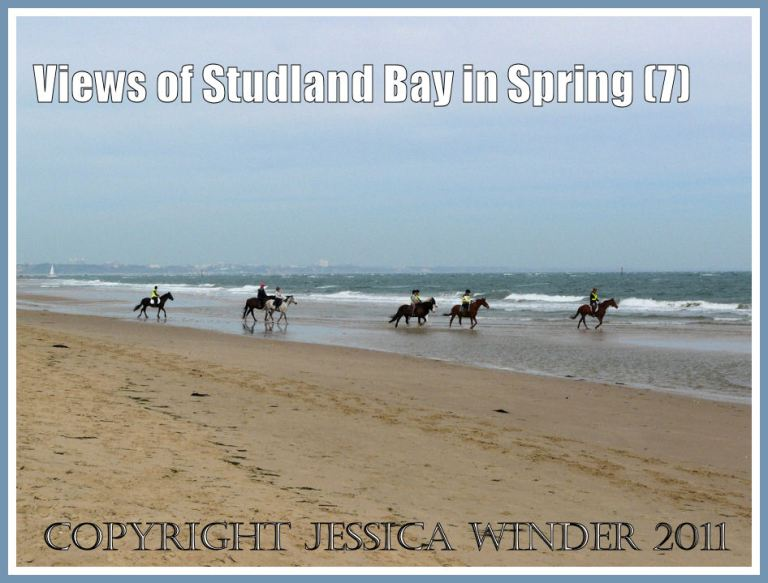 Studland Beach view: A group of equestrians from the local riding school and stables riding towards the surf on Studland Beach, Dorset, UK, March 2009 - part of the Jurassic Coast (P1080866aBlog7)