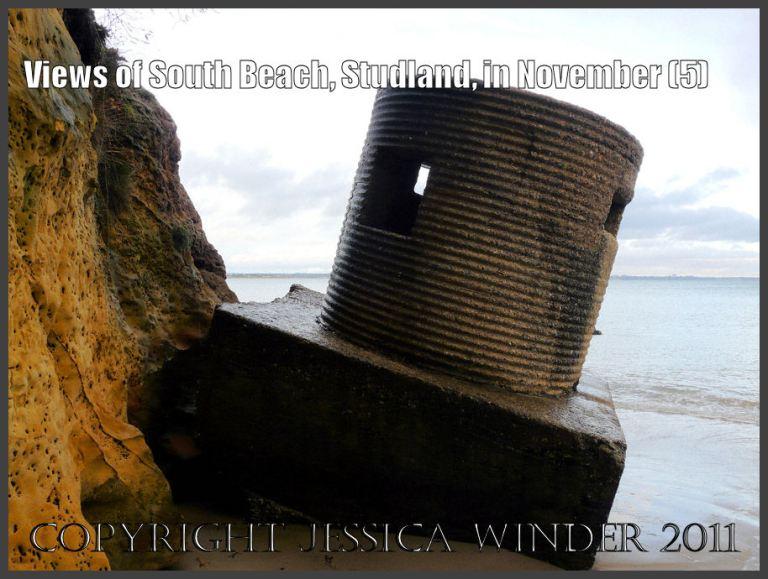 "Concrete World War II ""pill box"" fortification at South Beach, Studland, Dorset, UK - part of the Jurassic Coast (5)"