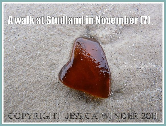 Seaglass image: Brown sea glass found on Knoll Beach, Studland, Dorset, UK - part of the Jurassic Coast - 27 November 2009 (6)