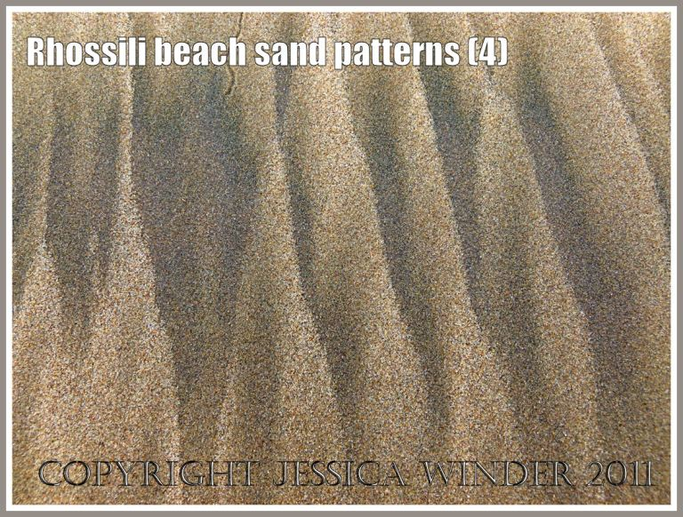Seashore patterns: Pattern in the beach sand created naturally by the tides at Rhossili Bay, Gower, South Wales, UK. (4)