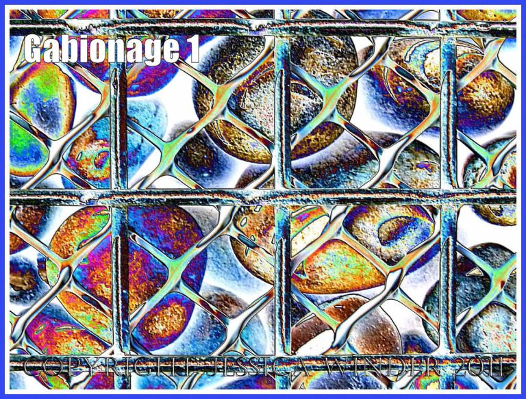 Pebbles in a metal cage (gabion) used for sea defence at Chesil Cove on the Isle of Portland, Dorset, UK - a digitally altered photograph (1)