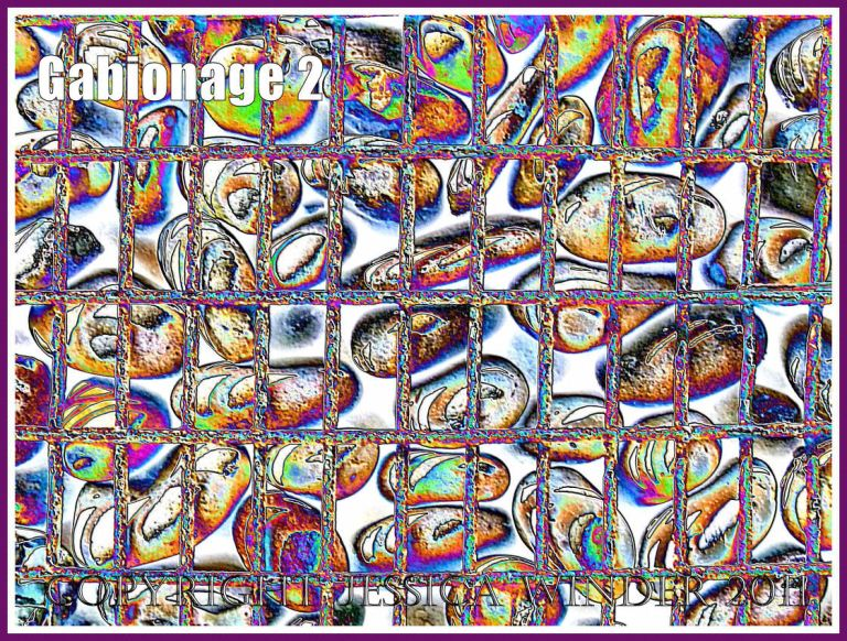 Gabionage2 - Pebbles in a metal cage (gabion) used for sea defence at Chesil Cove on the Isle of Portland, Dorset, UK - a digitally altered photograph (2)