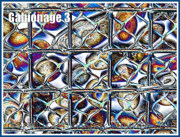 Gabionage3 - Pebbles in a metal cage (gabion) used for sea defence at Chesil Cove on the Isle of Portland, Dorset, UK - a digitally altered photograph (3)