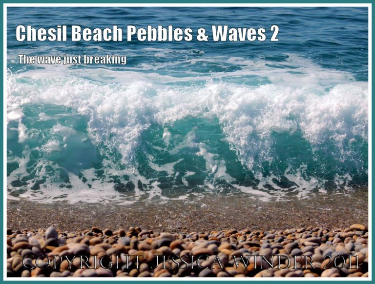 Waves and pebbles on Chesil Beach: A wave just breaking onto the pebbles at Chesil Beach, Dorset, UK on the Jurassic Coast World Heritage Site (2)