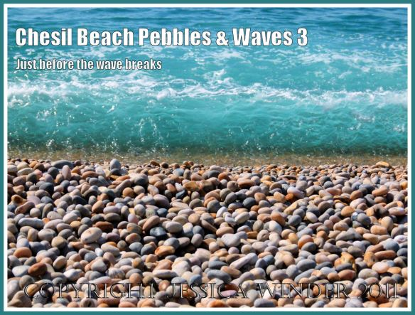 Chesil beach pebbles and waves: A wave the moment before it breaks on the shore at Chesil Beach, Dorset, UK on the Jurassic Coast (3)