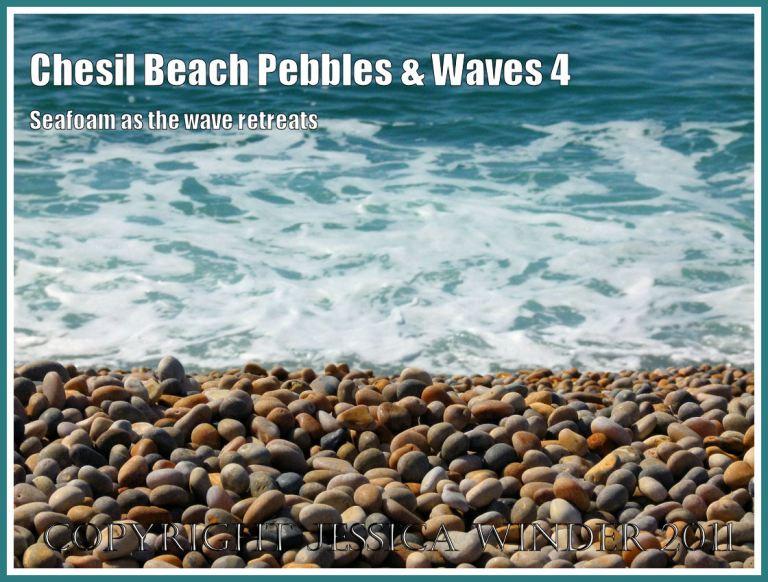 Pebbles on the beach and seafoam on the waves: Pebbles and seafoam at Chesil beach, Dorset, UK on the Jurassic Coast (4)
