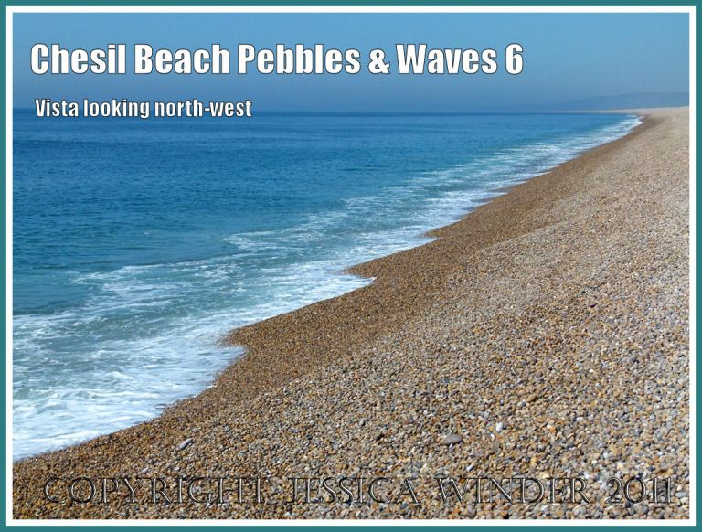 Sea, surf and pebbles at Chesil beach: View of the water's edge with sea and pebbles on Chesil Beach, Dorset, UK on the Jurassic Coast (6)