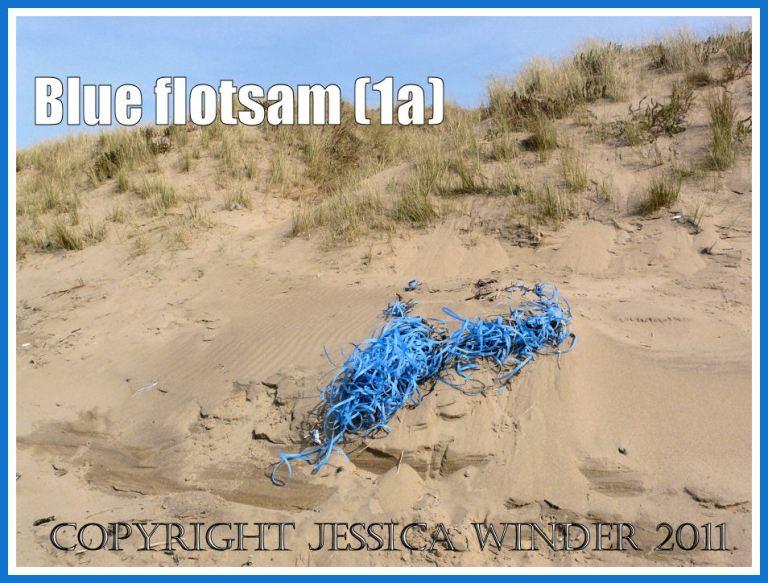 Rhossili flotsam: A mass of blue plastic binding washed ashore as flotsam on the sandy beach at Rhossili Bay, Gower, South Wales, UK (1a)