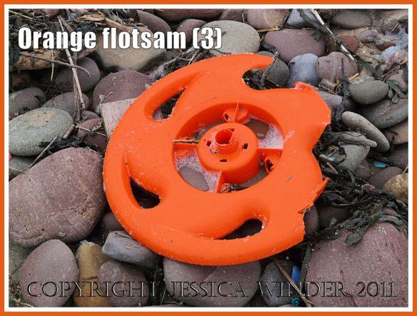 Gower flotsam: Orange plastic wheel washed ashore onto the pebble strandline as flotsam (3)