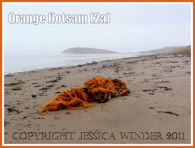 Orange flotsam; Orange mono-filament nylon fishing net washed ashore as flotsam on the sandy beach at Rhossili (2a)