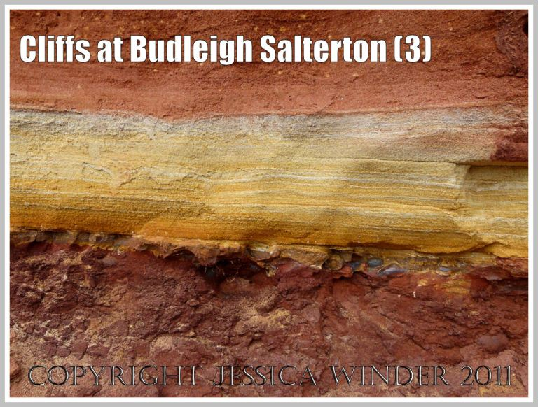 Cliff strata at Budleigh Salterton: Triassic sandstone strata in the cliff at Budleigh Salterton, Devon, U.K. on the Jurassic Coast World Heritage Site, showing a distinct yellow band separating the coarse red Otter Sandstone above and the Bunter Sandstone Pebble Beds below (3)