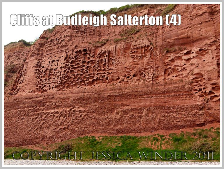 Red cliff rock textures: Triassic red rocks in the cliff at Budleigh Salterton, Devon, U.K. on the Jurassic Coast World Heritage Site, showing the difference in rock surface texture between the coarse red Otter Sandstone above and the Bunter Sandstone Pebble Beds below (4)