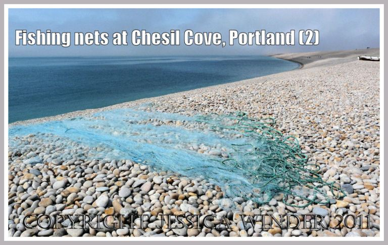 Drying nets at Chesil Cove: Fishing nets spread out to dry on the shingle shore at Chesil Cove, Portland, Dorset, UK - part of the Jurassic Coast (2)