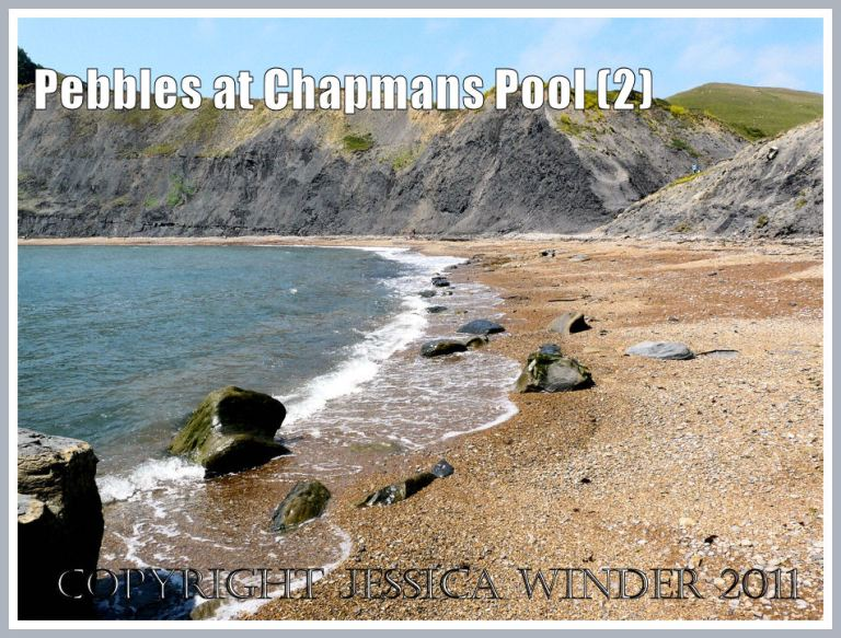 Pebbles at Chapmans Pool: Shingle shore at Chapmans Pool, Dorset, UK - part of the Jurassic Coast (2)