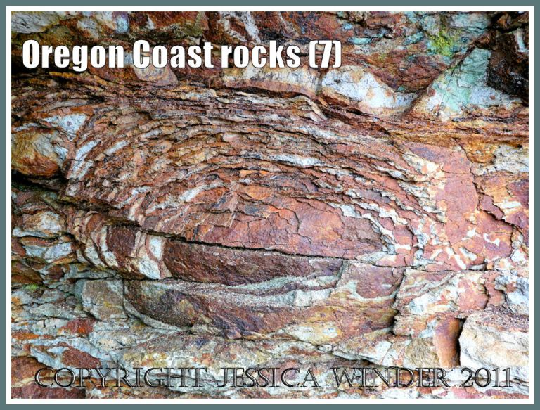Oregon rocks: Rock pattern and texture caused by spheroidal weathering in cliffs at Smelt Sands State Park on the Oregon Coast in the U.S.A. as seen from Trail 804 (7)