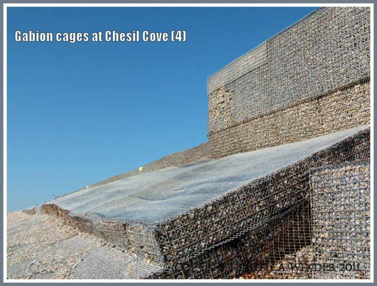 Gabion sea defence structure at Chesil Cove: Sea defence construction of gabion cages filled with pebbles supplementing the sea defences at Chesil Cove, Isle of Portland, Dorset, U.K. on the Jurassic Coast (4)