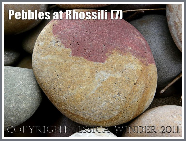 Pebble with red and yellow yin-yang design: A smooth rounded sandstone pebble, with a red and yellow design looking like the yin-yang symbol, from Rhossili, West Glamorgan, South Wales, UK (5)