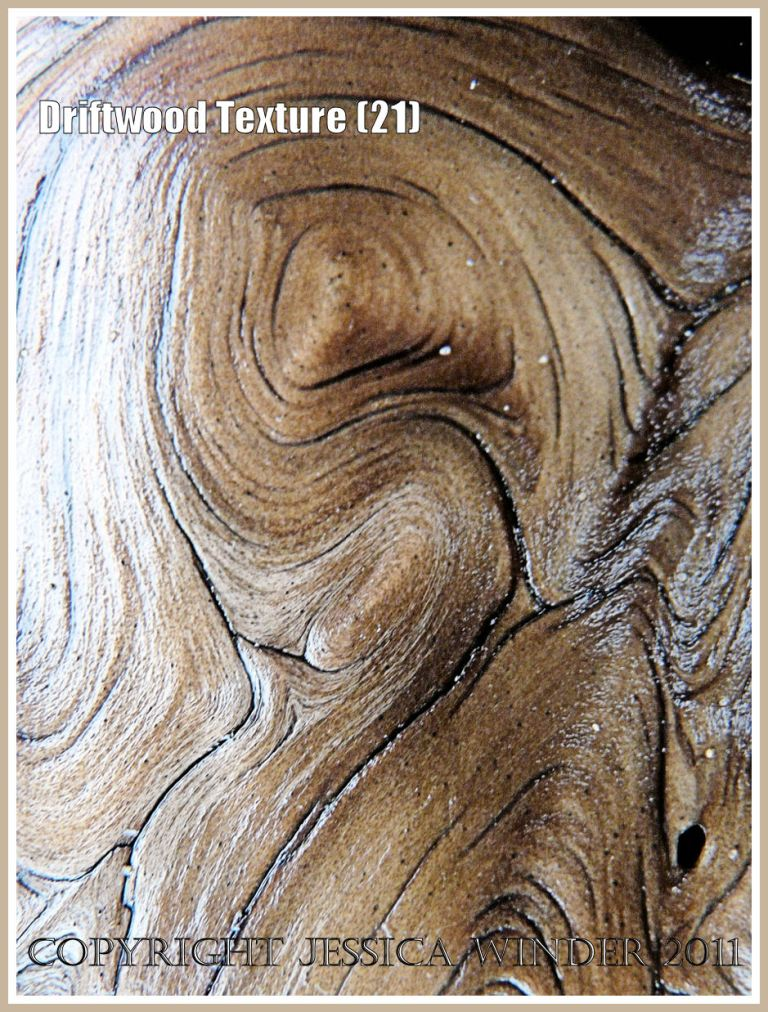 Woodgrain pattern: Smooth, wet, satin texture and woodgrain pattern on a piece of driftwood found on the strandline at Rhossili Bay, Gower, South Wales, UK (21)