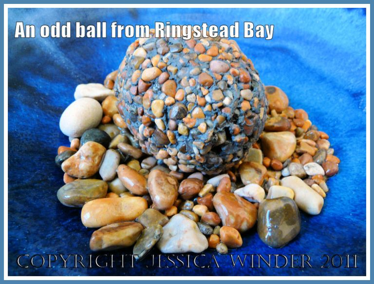 Clay ball from Ringstead Bay: Pebble-studded clay ball from Ringstead Bay, Dorset, UK - part of the Jurassic Coast.