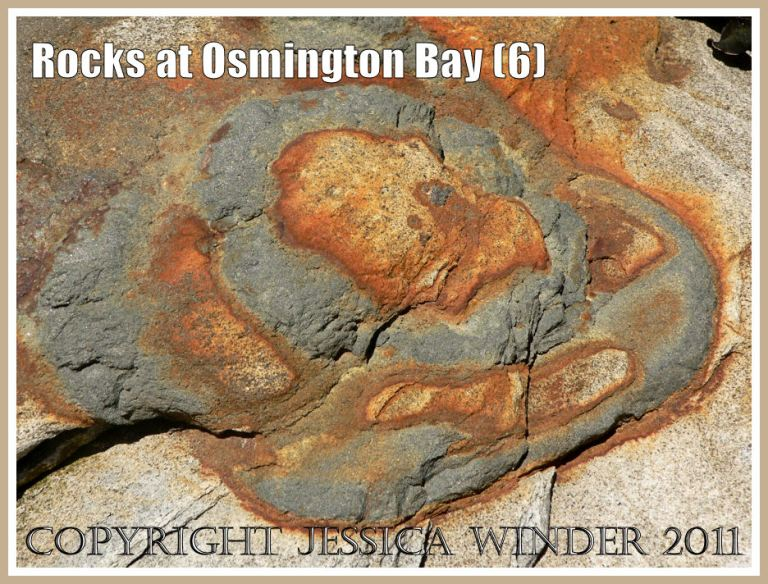 Natural rock textures, patterns and colours in beach boulders at Osmington Bay, Dorset, UK, on the Jurassic Coast World Heritage Site (6)