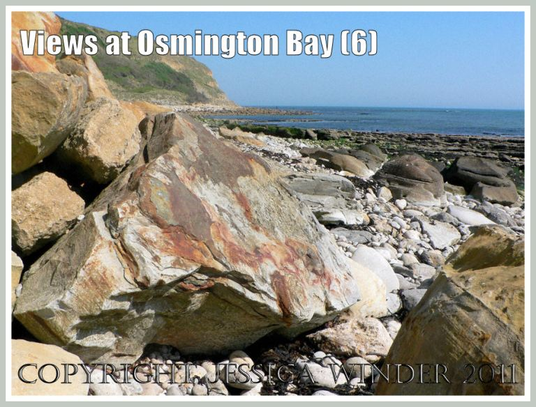 View of Osmington Bay, Dorset, UK, with iron-stained rocks, looking east towards Bran Point and Ringstead Bay - part of the Jurassic Coast (6)