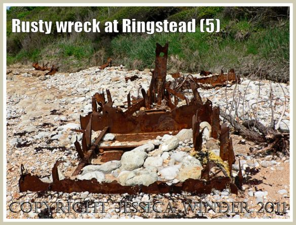 The rusting remains of an iron ship wreck at Ringstead Bay, Dorset, UK (part of the Jurassic Coast) (5)