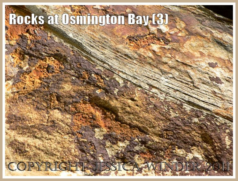 Natural rock textures, patterns and colours in beach boulders at Osmington Bay, Dorset, UK, on the Jurassic Coast World Heritage Site (3)