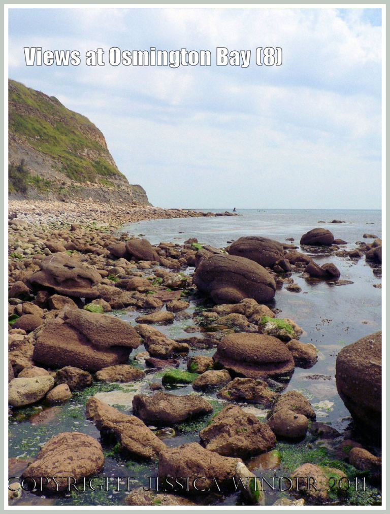 View at Osmington Bay, Dorset, UK, with rounded boulders, looking east towards Bran Point and Ringstead Bay (8)
