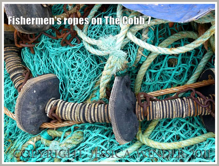 Nets and fishing gear on the harbourside at the Cobb, Lyme Regis, Dorset, UK (7)