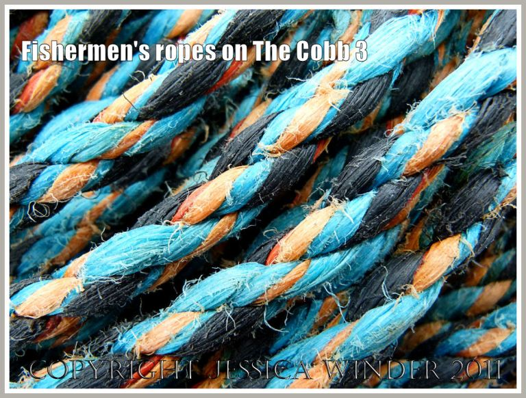 Rope colour, texture, and pattern: Old ropes from fishing boats on the quay of the Cobb at Lyme Regis, Dorset, UK (3)