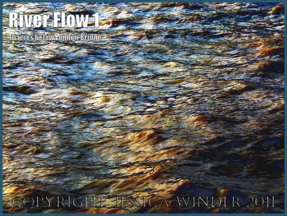 Water ripples and rflections: Impression of the ripples and reflections in the fast-flowing water of the River Thames just below London Bridge - digitally enhanced photograph (1)