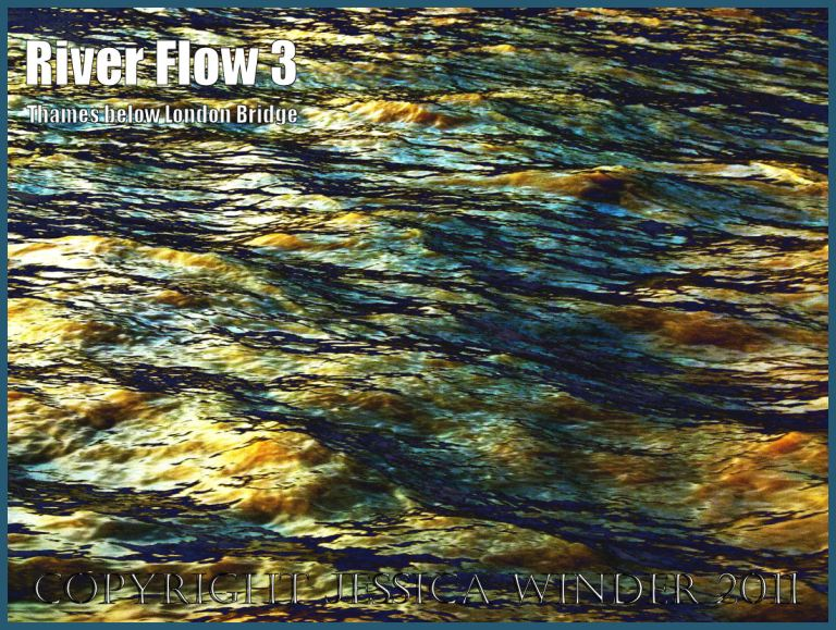 Water currents: Impression of the ripples and reflections in the fast-flowing water of the River Thames just below London Bridge - digitally enhanced photograph (3)