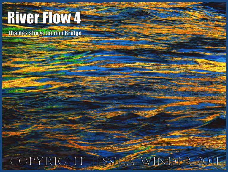 River Thames water: Impression of the ripples and reflections in the fast-flowing water of the River Thames just upstream of London Bridge - digitally enhanced photograph (4)