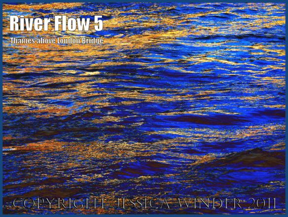 Fast-flowing water: Impression of the ripples and reflections in the fast-flowing water of the River Thames just upstream of London Bridge - digitally enhanced photograph (5)