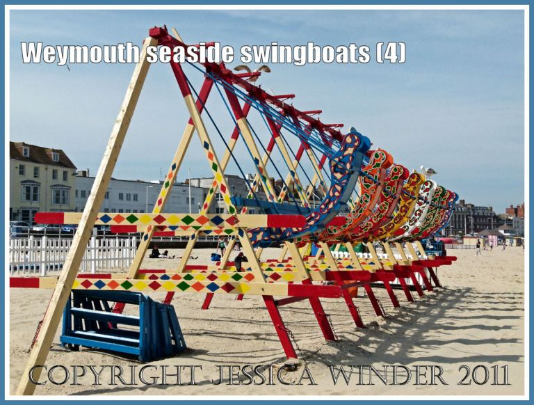 Brightly painted swingboats on the golden sands at Weymouth, Dorset, UK (4)