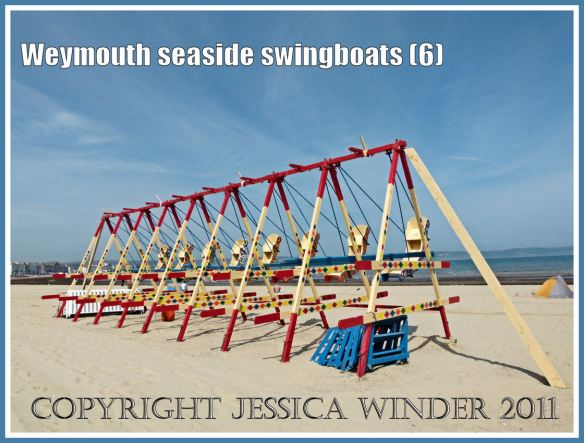 Brightly painted swingboats on the golden sands at Weymouth, Dorset, UK (6)