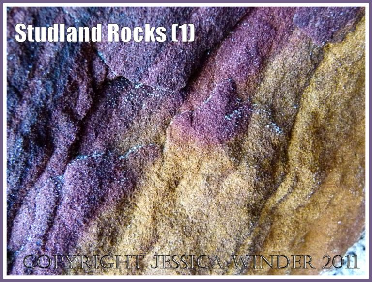 Rock colour, pattern, and texture in cliffs at Studland Bay, Dorset, UK, on the Jurassic Coast (1)