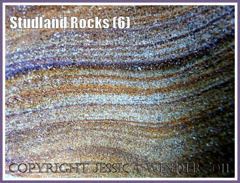 Rock colour, pattern, and texture in cliffs at Studland Bay, Dorset, UK, on the Jurassic Coast (6a)