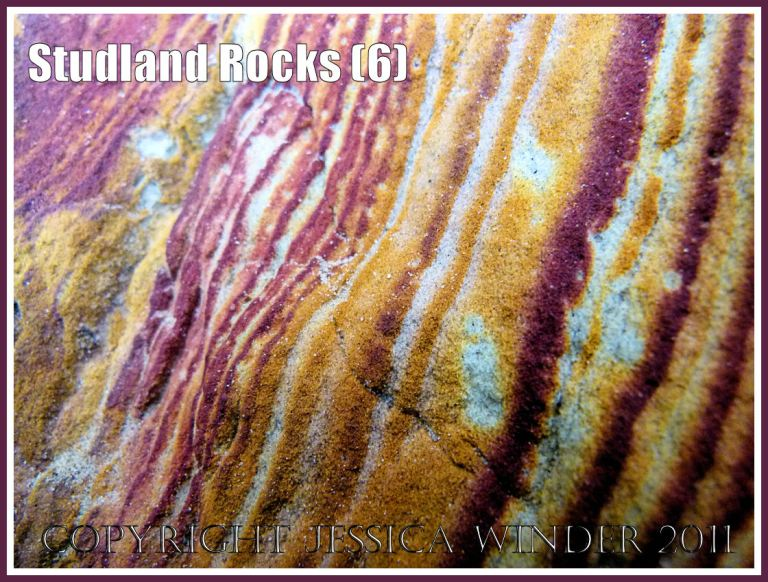 Rock colour, pattern, and texture in cliffs at Studland Bay, Dorset, UK, on the Jurassic Coast (6b)