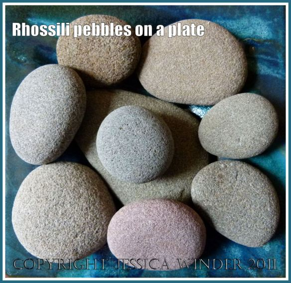 Rhossili pebbles: Assortment of pebbles from Rhossili on the Gower Penisula with a common coarse-grained sandy textured, smooth flattened shape, and subtle colours of grey, beige and pink; possibly Millstone Grit from the Upper Carboniferous Period.