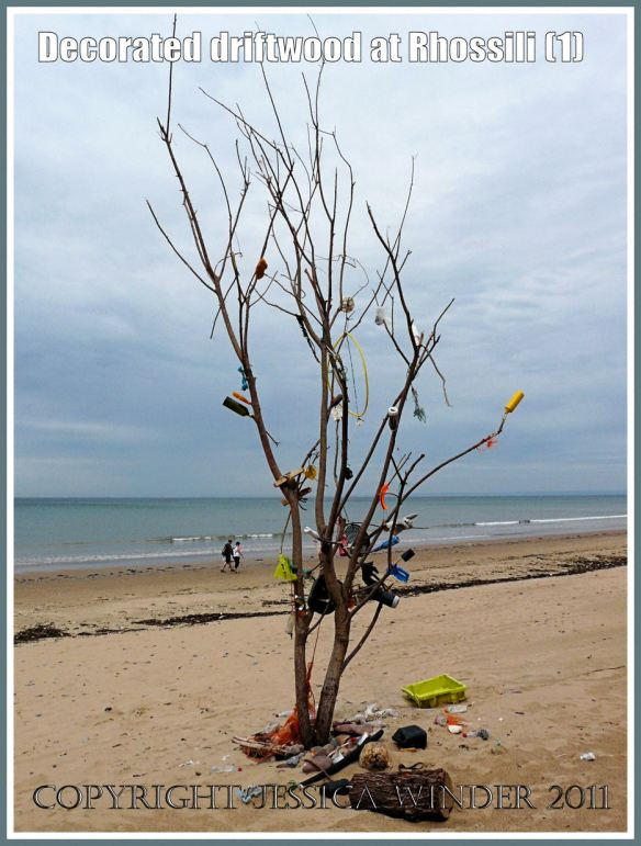 Driftwood tree decorated with flotsam on Rhossili beach, Gower, South Wales, UK, June 2009 (1)