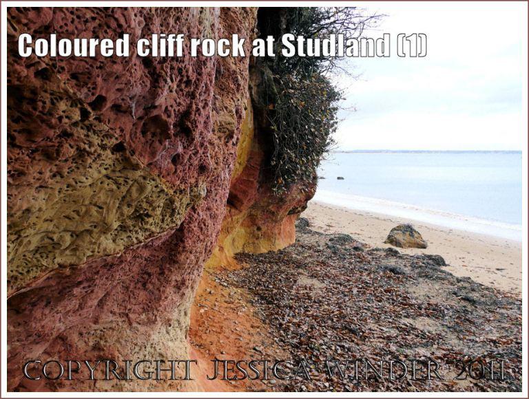 Red and orange coloured cliff rock on the seashore at Studland Bay, Dorset, UK, on the Jurassic Coast (1)