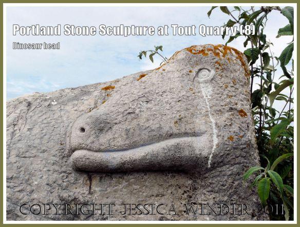 Portland Stone dinosaur carving: Portland Stone sculpture at Tout Quarry, Isle of Portland, Dorset, UK, on the Jurassic Coast - dinosaur (8)
