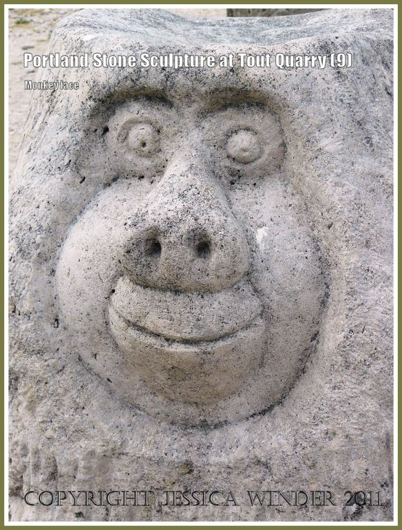 Monkey face sculpture at Tout Quarry: Portland Stone sculpture at Tout Quarry, Isle of Portland, Dorset, UK, on the Jurassic Coast - monkey face (9)