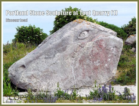 Dinosaur carving in Portland stone: Portland Stone sculpture at Tout Quarry, Isle of Portland, Dorset, UK, on the Jurassic Coast - dinosaur head (1)